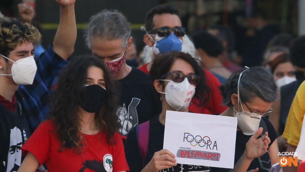Manifestantes fazem protesto contra o governo Bolsonaro em Campinas. (Foto: Luciano Claudino/Código 19)