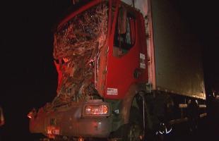 Reprodução / EPTV - Um dos veículos ficou com a cabine destruída
