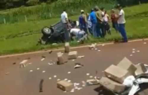 Reprodução EPTV - Acidente na entrada de Pitangueiras deixou dois mortos