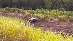 Motorista cai com carro em barranco em rodovia da região