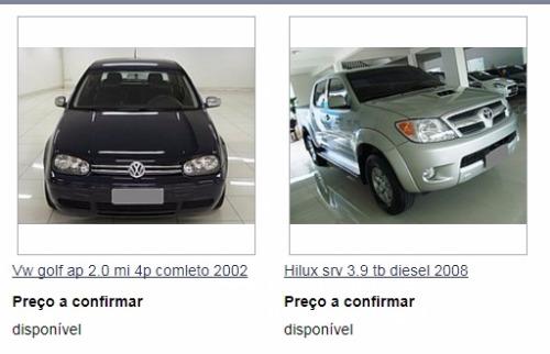 Anúncio de carros em site falso com a logomarca da loja de Araraquara (Reprodução) - Foto: Reprodução