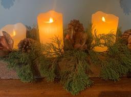 Arranjo de Natal Rústico para enfeitar a mesa da ceia