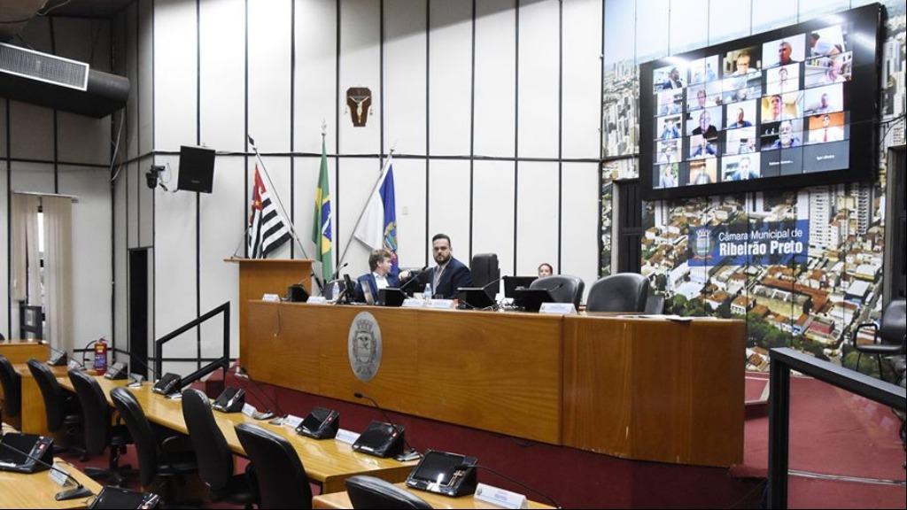 Mais uma vez, sessão da Câmara de Ribeirão Preto foi por videoconferência (Foto: Allan S. Ribeiro/Câmara Ribeirão) - Foto: divulgação
