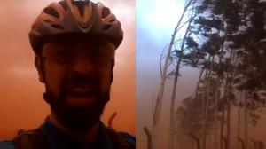Vídeo: Ciclistas são surpreendidos por tempestade de poeira