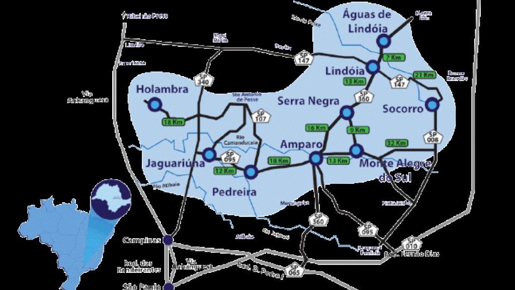 Mapa do Circuito das Águas Paulista (Arte: ACidade ON Circuito das Águas) - Foto: ACidade ON - Circuito das Águas