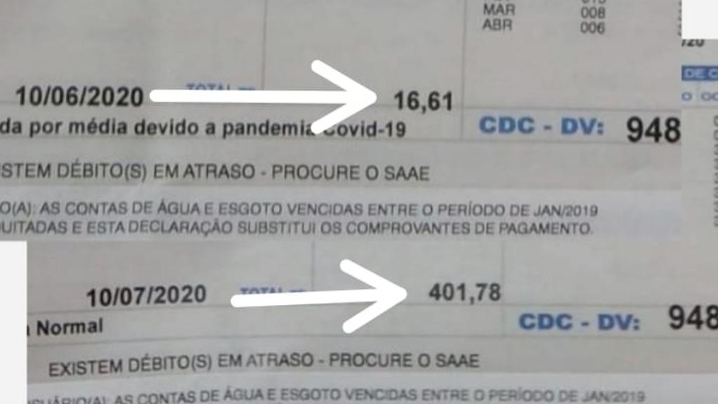 abuso nos valores da conta de água que chegam a 2.419% de aumento. Foto: Divulgação - Foto: Divulgação