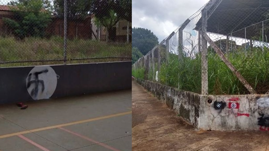 De um lado pichação na quadra de esportes e de outro na área externa (Foto: Internauta) - Foto: ACidade ON - Araraquara