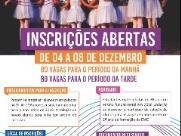 Inscrições para Escola Municipal de Dança: de 04 a 08 de dezembro