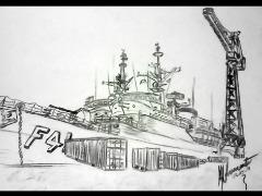 Fragata Defensora F41: único navio de guerra da marinha brasileira a estampar uma mulher em seu escudo (Imagens: Maria Nascimento) - Foto: Imagens: Maria Nascimento