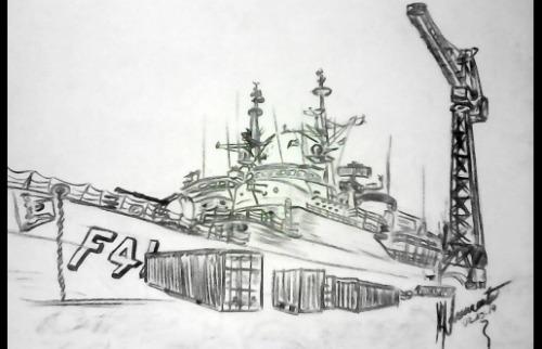 Imagens: Maria Nascimento - Fragata Defensora F41: único navio de guerra da marinha brasileira a estampar uma mulher em seu escudo (Imagens: Maria Nascimento)