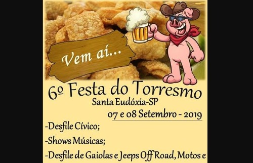 Festa do Torresmo de Santa Eudóxia terá encontro de violeiros e desfile cívico. Foto: Divulgação - Foto: Divulgação