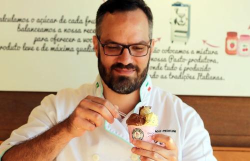 Tiago Pedicini: fórmulas químicas e matemáticas para chegar no gelato perfeito - Foto: Francine Micheli