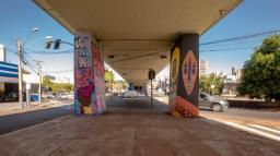 Grupo de grafiteiros presenteia Ribeirão com arte em viaduto