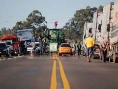 Greve dos Caminhoneiros na fronteira. Foto: Marcelo Pinto/APlateia - Foto: Marcelo Pinto/APlateia
