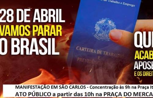 Divulgação - Greve Geral terá atos em São Carlos