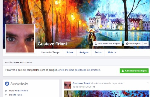 Guilherme criou um perfil com o nome Gustavo Triani na rede social - Foto: Reprodução / Facebook