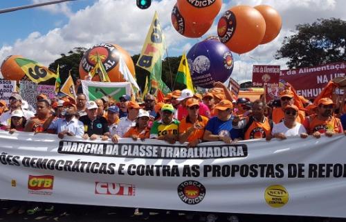 Centrais sindicais realizam protesto em Brasília nesta quarta-feira - Foto: Jaélcio Santana / Força Sindical