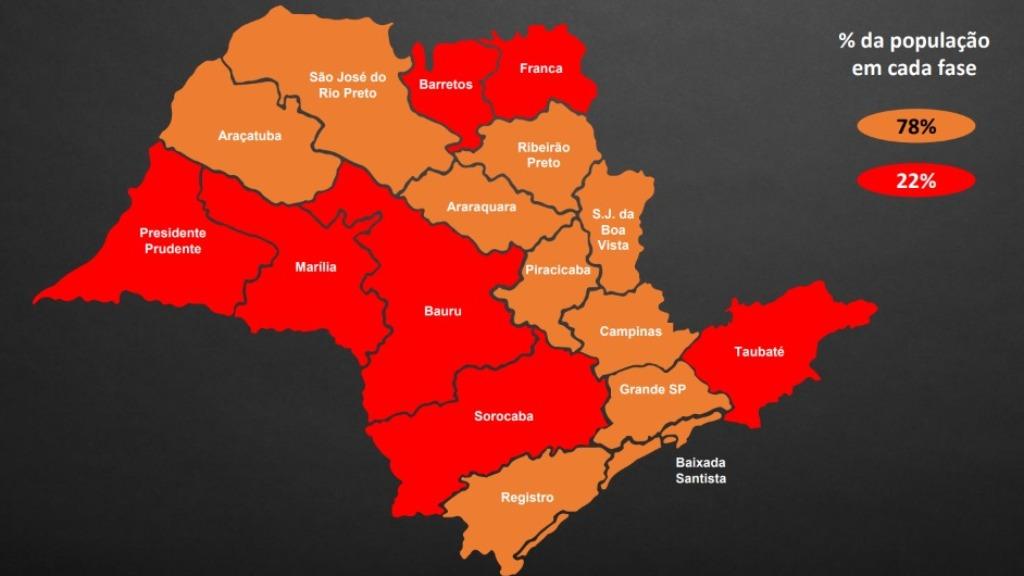 Mapa do Plano São Paulo, atualizado em 22 de janeiro de 2021 - Foto: ACidade ON - Ribeirão Preto