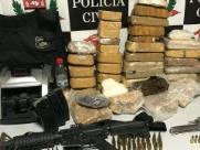 Dise prende 4 com drogas, armas e R$ 30 mil em dinheiro