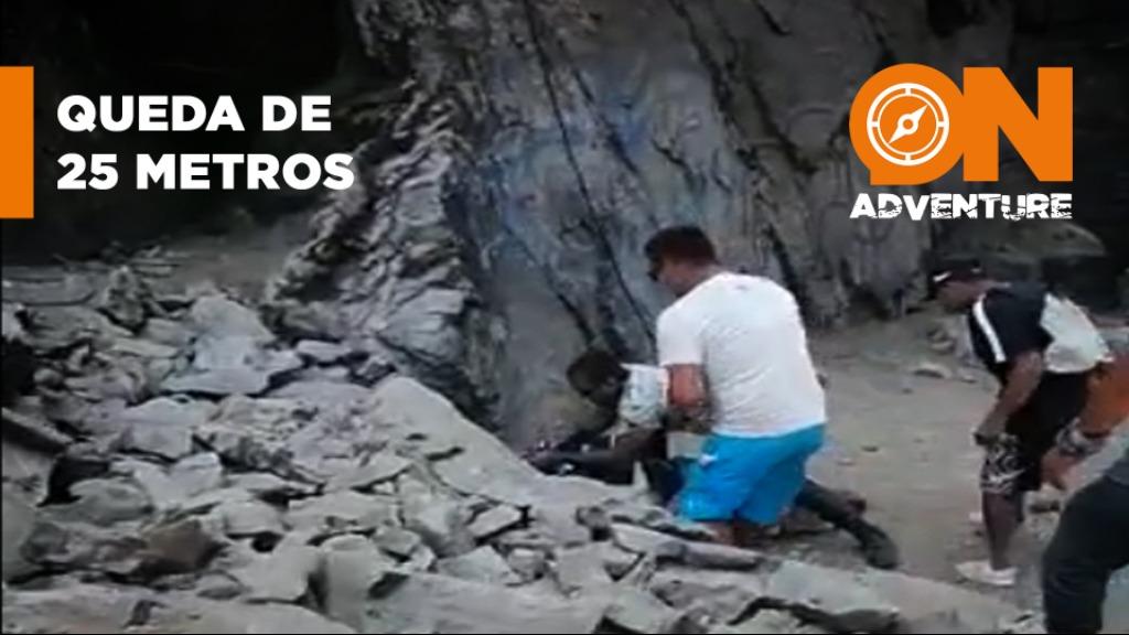 Homem cai de 25 metros durante uma descida de rapel, no Perú. - Foto: Reprodução WEB