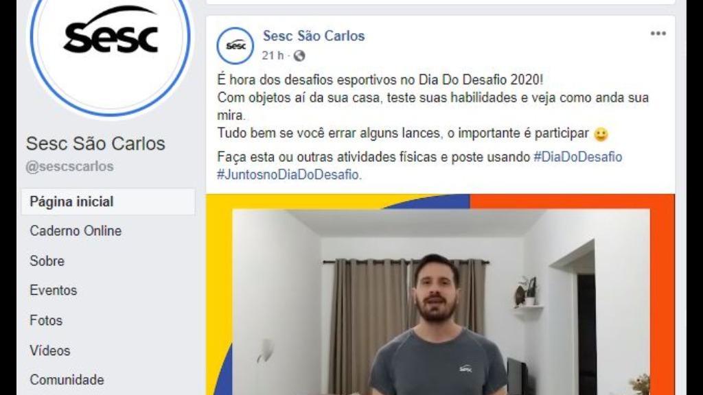 Sesc São Carlos estimula prática de atividades no Dia do Desafio. Foto: Reprodução - Foto: ACidade ON - São Carlos
