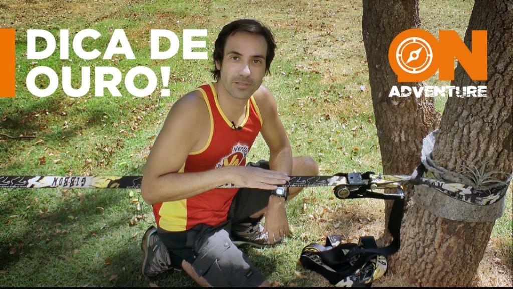 Sanner Moraes mostra como esticar a fita de Slackline usando pouca força e com um ótimo aproveitamento. - Foto: Sanner Moraes