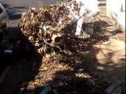 Lixo em calçada atrapalha passagem de pedestres na zona Norte