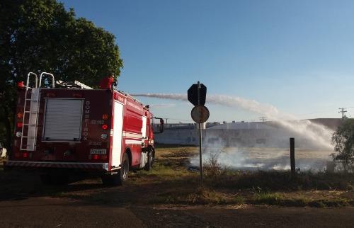 Terreno baldio pega fogo no Jardim São Paulo, em São Carlos (Fonte: Júlia Fernandes / ACidade ON) - Foto: Júlia Fernandes / ACidade ON