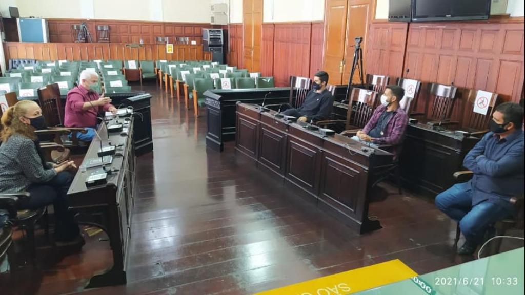 Vereadores da CPI da Saúde na sala das sessões da Câmara, onde são realizadas as oitivas. Foto: Divulgação - Foto: Divulgação