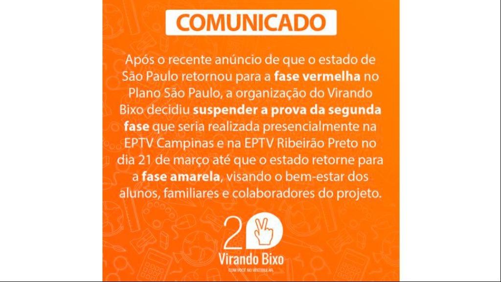 Aviso Virando Bixo - Foto: Virando Bixo